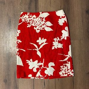 Talbots Red & White Floral Print Pencil Skirt